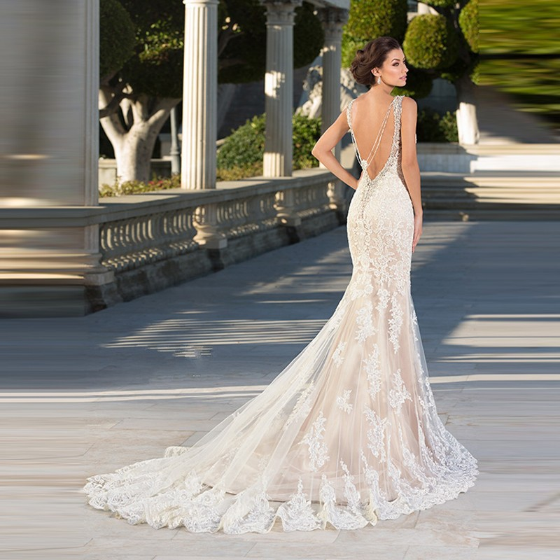 c4f5b8d8c8417 Charming Zuhair Murad Wedding Dresses High Quality Lace Applique Bride Dress  with Long Train for Weddings Sexy Backless(WDS-130). makayla1 makayla3 ...