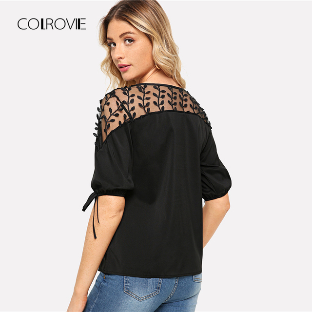 Black Knot Mesh Panel Blouse Shirt Pink Workwear Feminine Blouse Green Casual Half Sleeve Women Tops 1