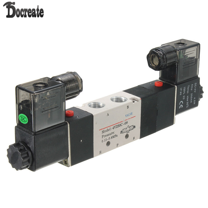 4V230C-08 DC 12V Double Head 3 Position 5 Way Pneumatic Solenoid Valve dc 12v single head 2 position 5 way 5 pneumatic solenoid valve w base aywvu