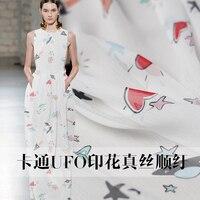Custom fabrics Pure white DFO rocket cartoon printed silk ribbon summer dress fabric