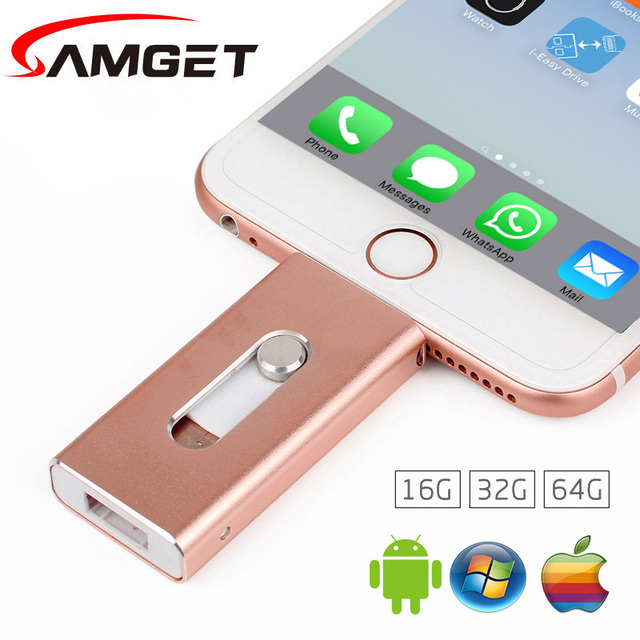 Samget Memoria USB 8GB 32GB 64GB Mini USB Metal Memoria USB / Otg USB Flash Drive Para iPhone 5/5S/5C/6/6S Plus/7/ipad/MAC/PC/Android