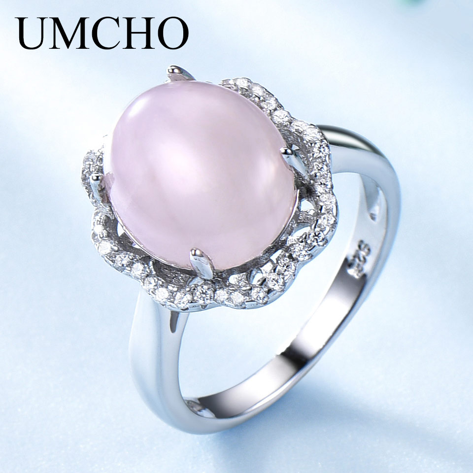 UMCHO Natural Rose Quartz Rings Solid Real 925 Sterling Silver Jewelry Pink Gemstone Rings For Women Wedding Gifts Fine JewelryUMCHO Natural Rose Quartz Rings Solid Real 925 Sterling Silver Jewelry Pink Gemstone Rings For Women Wedding Gifts Fine Jewelry