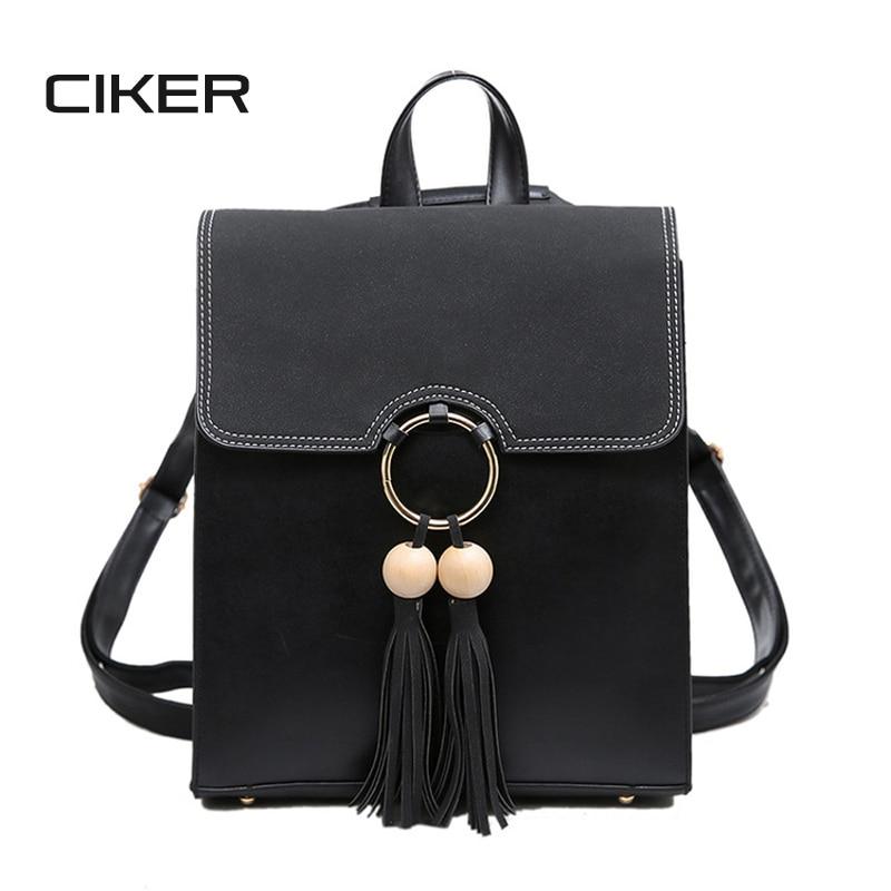 CIKER 2017 Scrub PU Leather Women Backpack Fashion Tassel Square Backpacks For Girls A4 Notebook School