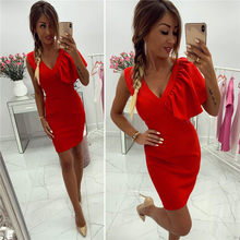 Women Bodycon Dress Ruffles Decor V-Neck Sleeveless Solid Color Summer Mini Dress Office Ladies Slim Hip Dress(China)