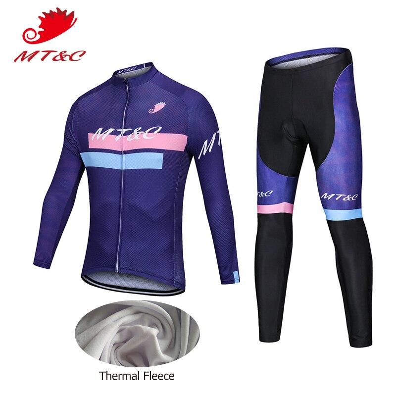 MT & C зимняя женская обувь Велоспорт Джерси комплект фиолетовый голубой ветрозащитный флис Pro Велоспорт команды Костюмы быстросохнущая 9D ге...