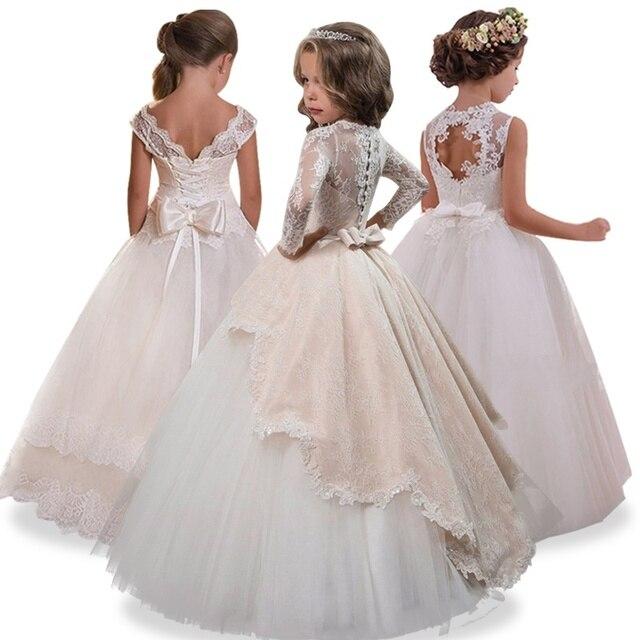 ed100c919943d 2019 robes de fille de fleur trou robe de bal dentelle blanche sans manches  longue mariage. Passer la souris dessus pour zoomer
