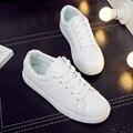 2016 весна кожаные ботинки Корейский студент белый Бесплатная доставка низкий дышащий зашнуровать плоским дном Круглым Носком женщины повседневная обувь