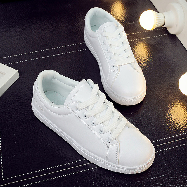 2016 spring leather shoes Korean student white Free shipping low breathable lace up flat-bottomed Round Toe women casual shoes