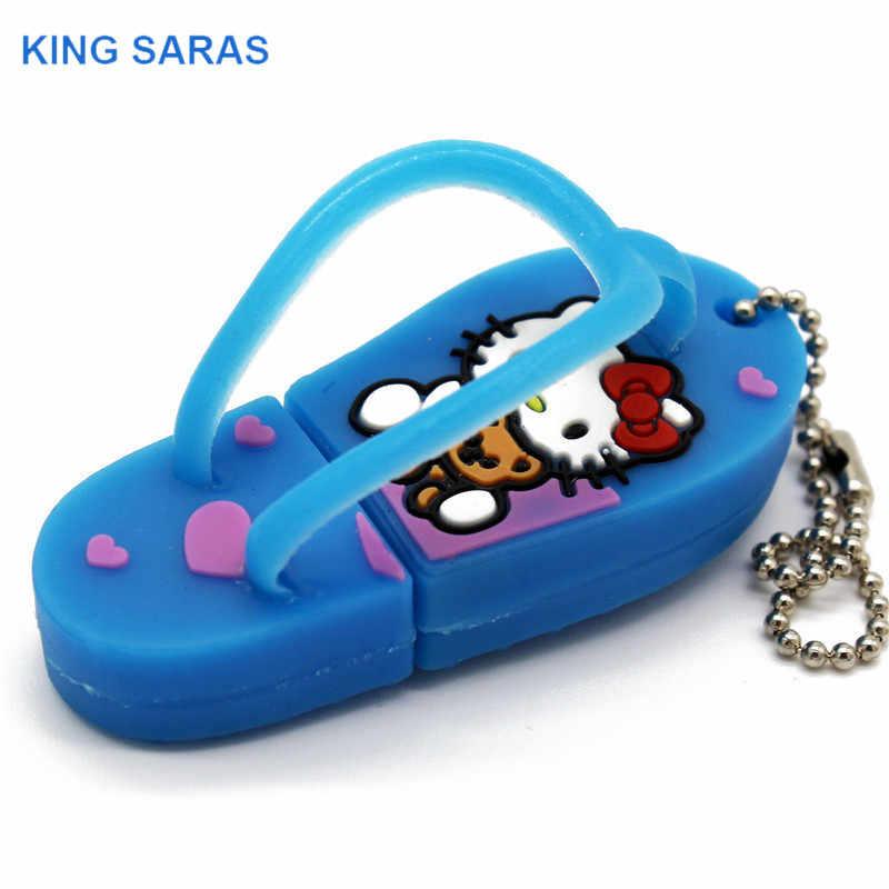 REI SARAS bonito olá Kitty sapato usb flash drive usb 2.0 gb gb 16 8 4 gb gb 64 32 gb pendrive presente