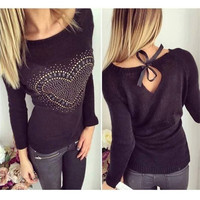 Hot Sale New 2015 Winter Lady Sweater Small Hollow Halter Straps Sweet Cotton O Neck Sweater