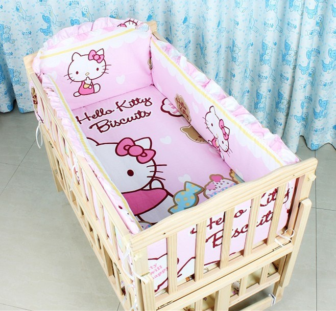 Promotion! 7pcs Cartoon Bedding Sets,Good Quality Baby Bedding Set for Girls,Crib Bedding (bumper+duvet+matress+pillow)