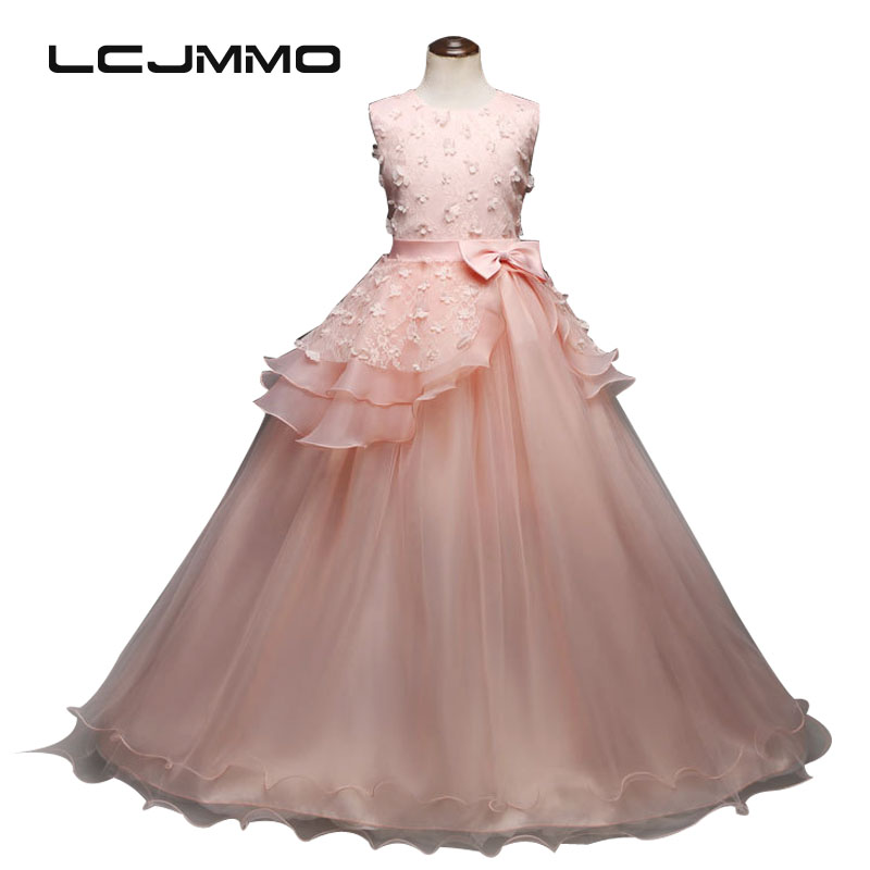 LCJMMO 2018 New 5-14 years Teenager Girls Wedding Dresses Kids Party Pageant Flowers Princess Dress For Costume Children Clothes