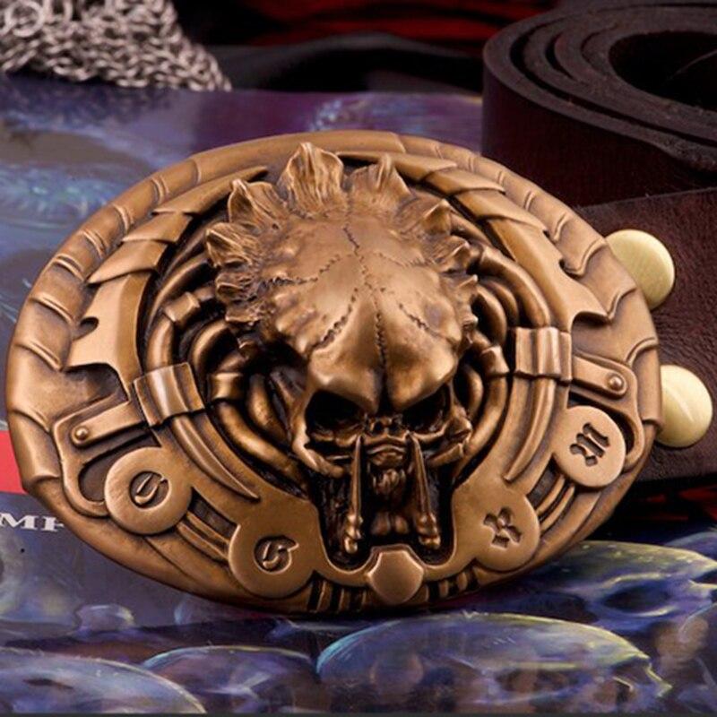 Ogrm Bronze boucle ceinture prédateur en cuir ceinture hommes Cool 3D Avp Alien Vs prédateur boucle libre avec ceinture Cosplay accessoires