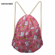 INSTANTARTS Nurse Drawstring Bag Fashion Casual Light Women Men Mini Drawstring Backpack 3D Cute Cartoon Nurse Print School Bags