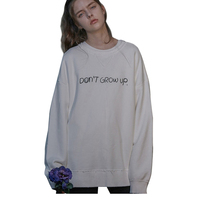 Women Casual Style O neck Long Sleeves Letters Printed Loose Over Size Cotton Sweatshirt White TA02800118