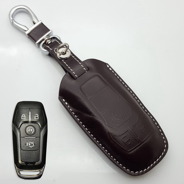 Leather Key Fob Cover Case For 2017 2016 Ford Fusion Mustang Explorer Taurus F 150 Holder Chain Auto Accessories