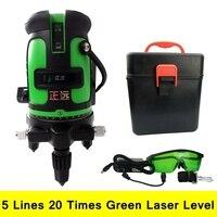5 Lines 20 Times Green Laser Level 360 Degree Self Leveling Rotary Laser Line Measurement Diagnostic