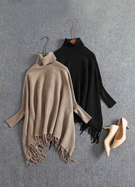 Women Turtleneck sweater warm winter woman Plus Size Batwing Poncho With Tassel Knit Pullover Jumper Loose Oversized Knitwear