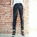 2016 Invierno Negro Spliced Faux pantalones de Cuero de los hombres Delgados Streetwear Casual Hip hop pantalones Basculador Basculadores pantalones M-XXL