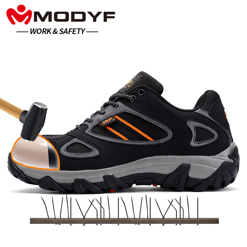 MODYF Men Steel Toe Safety Work Shoes Casual Breathable Outdoor Sneaker Boots Puncture Proof Protection Footwear free shipping men steel toe cap work safety shoes reflective casual breathable hiking boots puncture proof protection footwear