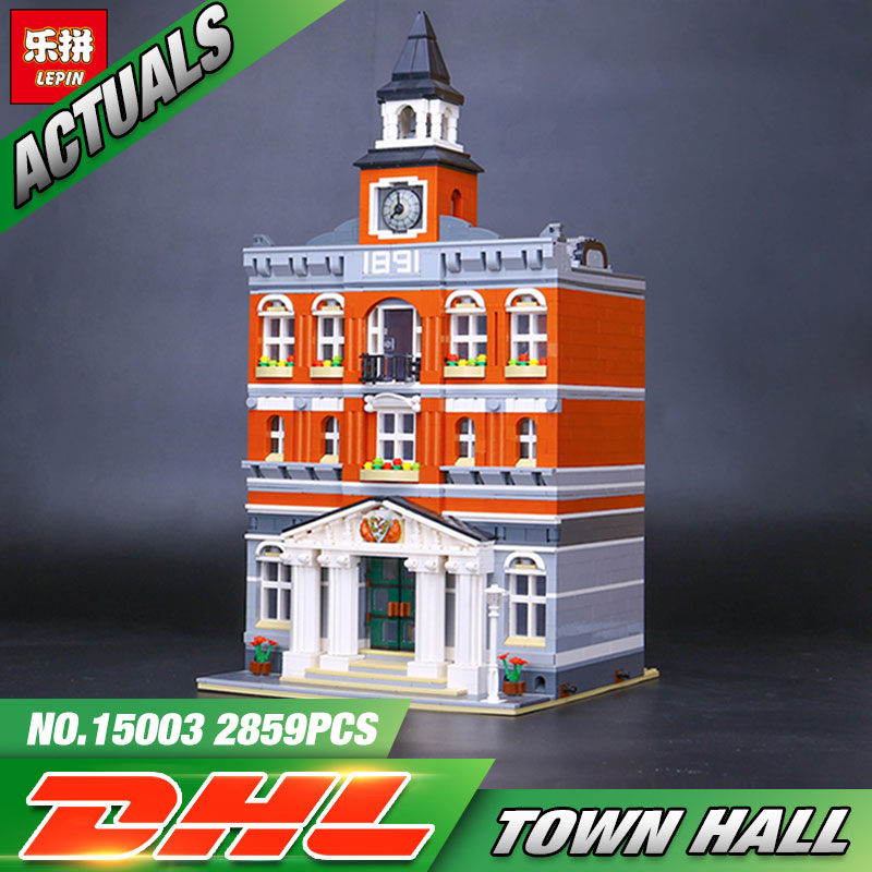 New 2859Pcs 2016 LEPIN 15003 Kid's Toys The town hall Model Building Kits Building Blocks Bricks as Gift free dhl shipping lepin 15003 new 2859pcs creators the town hall model building kits blocks kid toy gift
