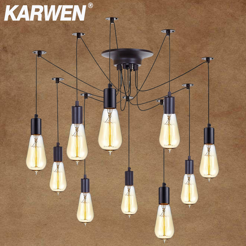 KARWEN DIY Vintage Spider Pendant Lamp E27 Loft Multiple Adjustable Hanging Lamps Length 120cm 150cm 200cm Retro Pendant Lights