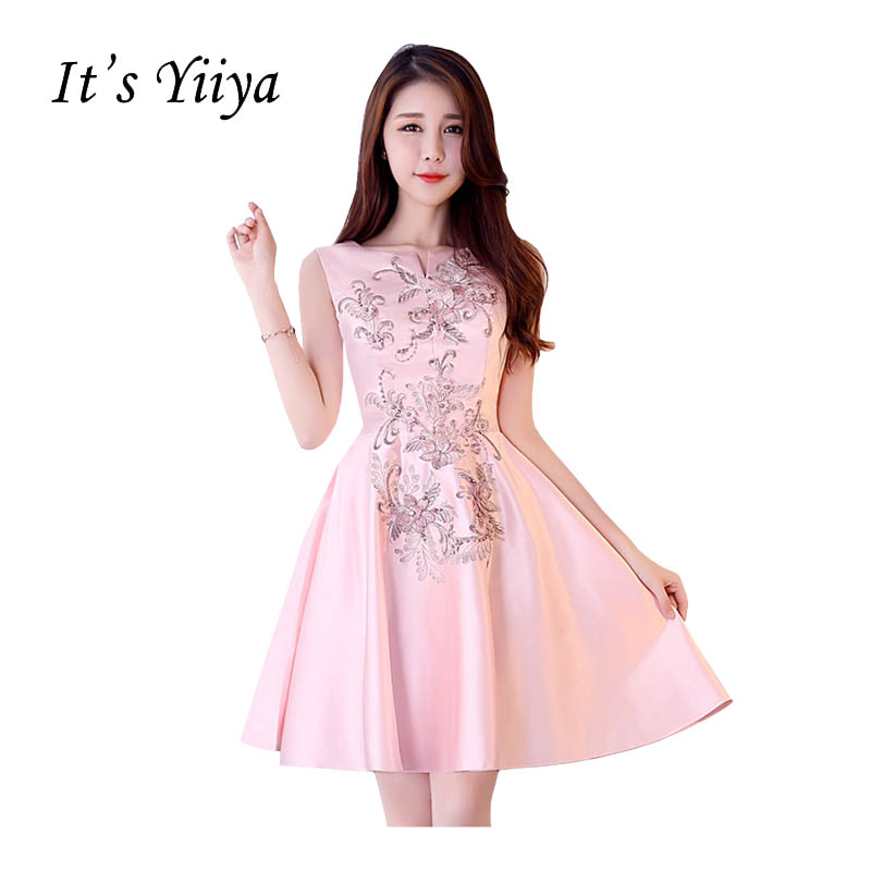 It's Yiiya Sleeveless Sex Party Gown Prom Gowns Taffeta Embroidery Beading Knee Length Ball Gowns Simple   Cocktail     Dresses   X302