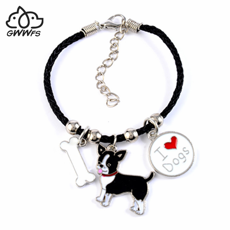 Cute Chihuahua charm bracelets & bangles for women girls men rope chain silver color alloy pet dog pendant male female bracelet