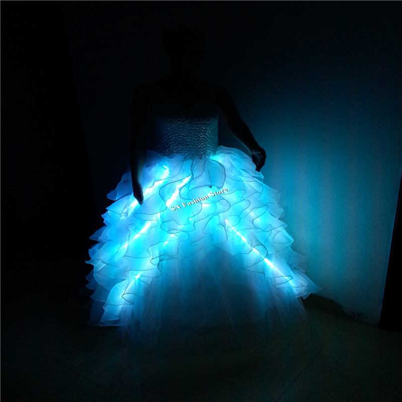 GG10 Värviline Ballroomi laulja tants LED-valgustite kostüümid - Pühad ja peod - Foto 4