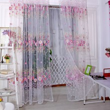 Europischen Stil Sonnenblumen Design Dekoration Moderne Stoffe Organza Sheer Panel Fenster Fr Wohnzimmer Decor P20