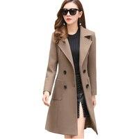 XUXI 2019 New Slim Fit Fashion Warm Casual Office Lady Blends Womans Coat Jacket Khaki Women Winter Wool Coats Plus Size FZ236
