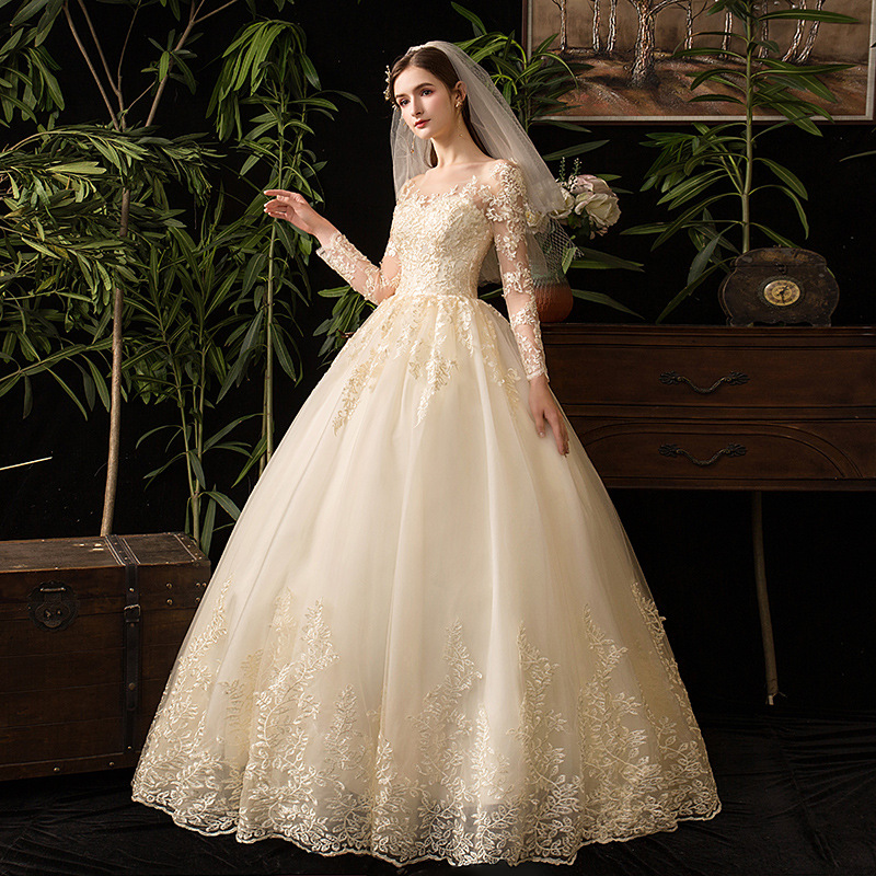 Image 4 - Champagne O Neck Full Sleeve 2019 New Wedding Dress Illusion Lace  Embroidery Simple Custom Made Bridal Gown Vestido De Noiva LWedding  Dresses
