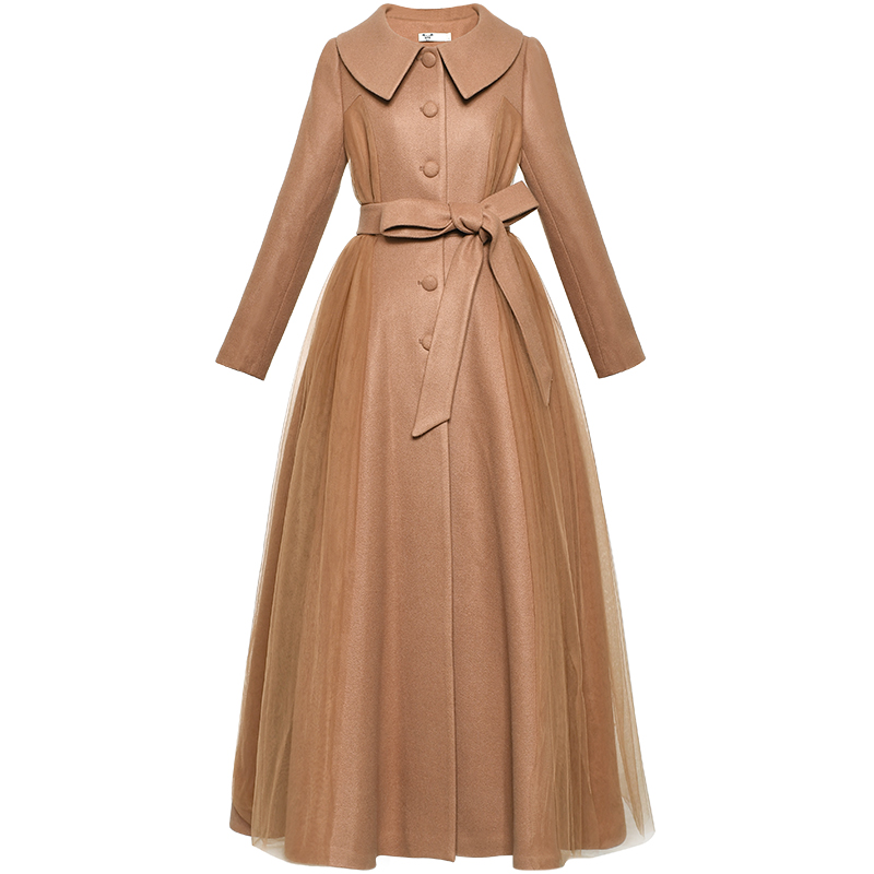 Бесплатная доставка, новинка 2019, длинный макси марлевый лоскутный зимний Тренч для женщин, Boshow, верхняя одежда, S L, однобортное пальто с пояс