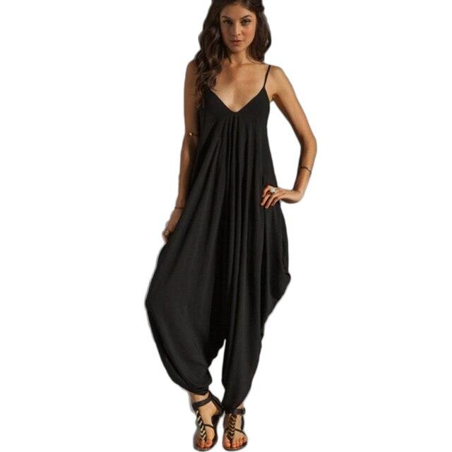 Новый 2015 Сексуальная Мода женская Комбинезон Росы Плечевой Ремень Пляж Комбинезон Haroun Брюки для женщин одежда