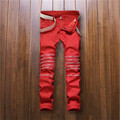 2016 Mens Knee Zipper Straight Jeans Red Ripped Slim fit Jeans Fashion Mens Nightclub Hole Jeans P3063