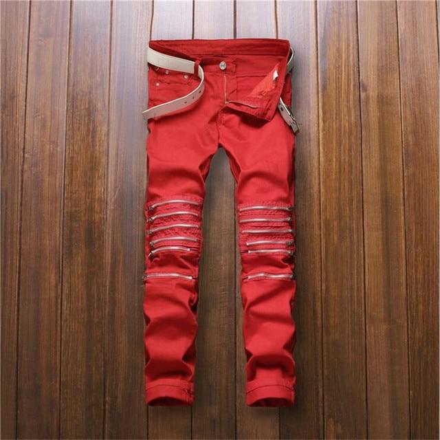 2016 Para Hombre de Rodilla Cremallera Vaqueros Rectos Pantalones Vaqueros Del Agujero Rasgado Slim fit Jeans de Moda Para Hombre Rojo Discoteca P3063