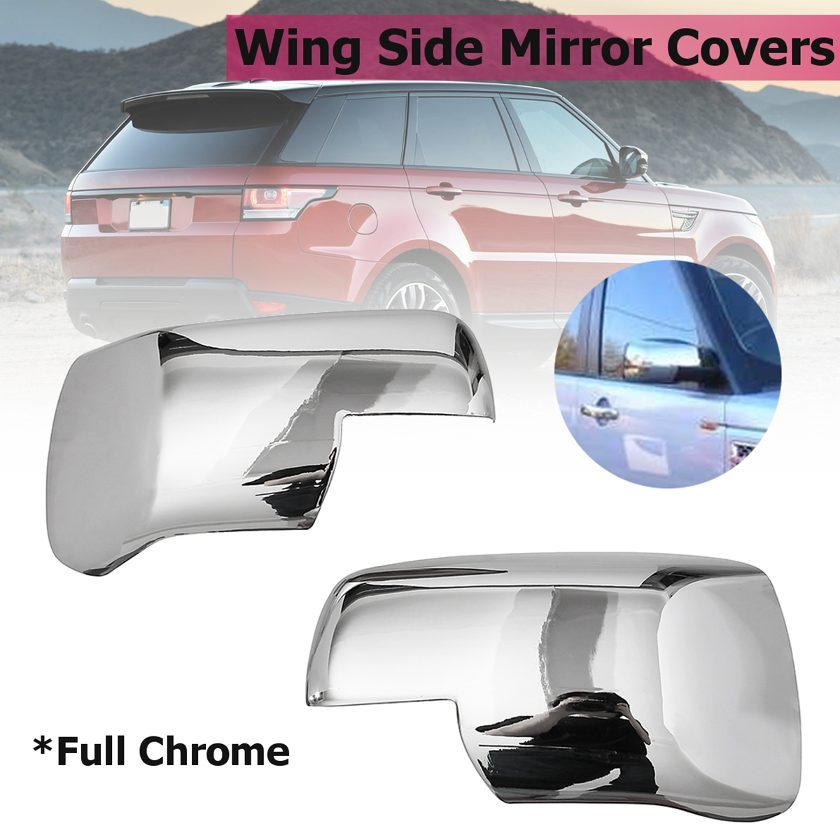 Pair Full Chrome Wing Side Mirror Covers Caps For Land Rover Discovery 3 Range Sport Freelander 2 2004 2005 2006 2007 2008 2009