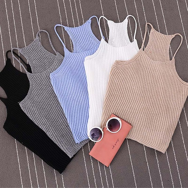 Korean Autumn Womens Short Cropped Knitted Tank Tops New 2016 Fall Fashion Ladies' Casual Knit Crop Tanks
