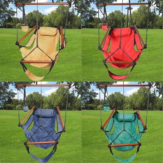 camping jardin hamaca silla colgante swing con almohada carga 150kg op2315 - Hamaca Jardin