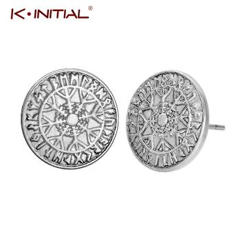 Kinitial Fashion Norse Runes Stud Earring Viking Jewelry Scandinavian Studs Earrings For Women Men Statement Piercing Bijoux image