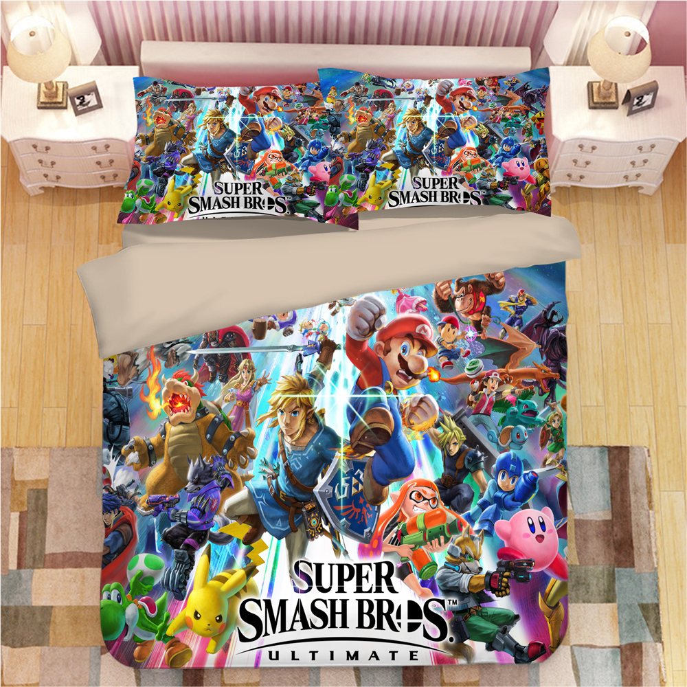 Image 4 - Sonic The Hedgehog Bedding Set Super Mario Bros Duvet Covers Pillowcases Twin Full Queen King Comforter Bedding Sets Bed Linen-in Bedding Sets from Home & Garden
