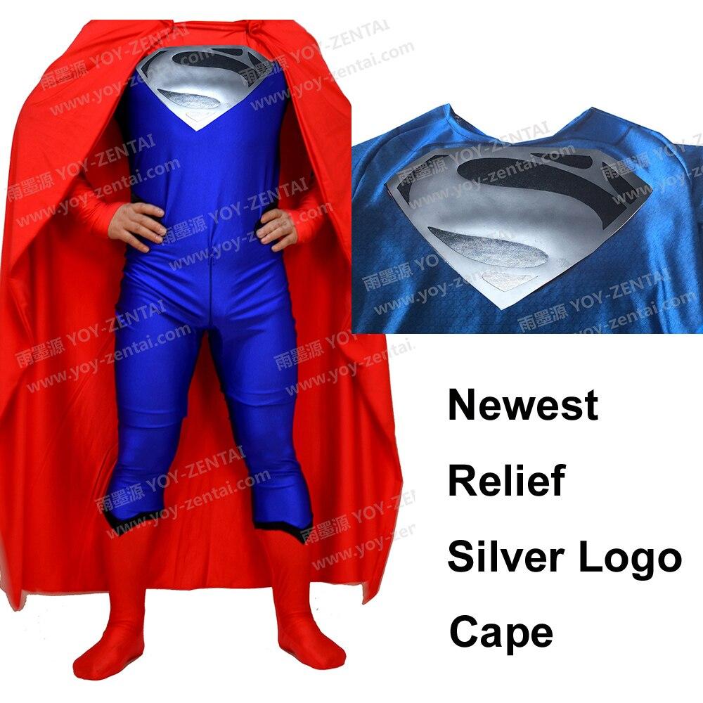 100% Kwaliteit Movie Coser Spandex Nieuwste Relief Logo Zilver Superman Pak Superman Kostuum Met Cape #4 We Hebben Lof Van Klanten Verdiend