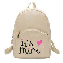 9577347000ab Повседневное Кожа PU Рюкзак Для женщин школьные рюкзаки Письмо печати Мини  ранцы для девочек-подростков