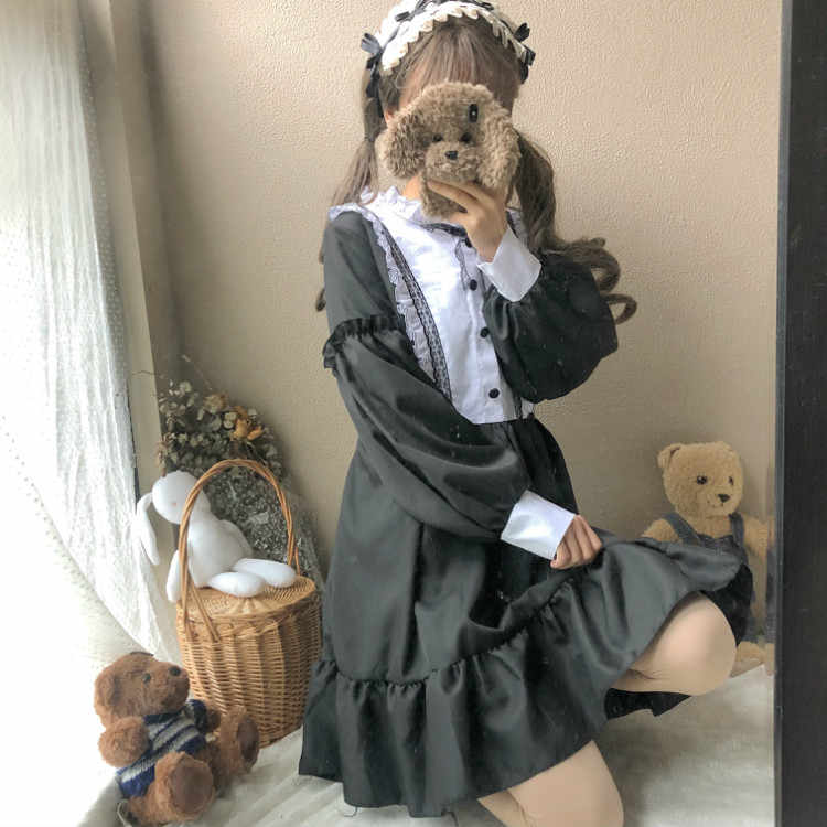 女性のドレスヴィンテージレディースかわいいオル色ブロック長袖かわいいドレス女性かわいいヴィンテージ原宿の服