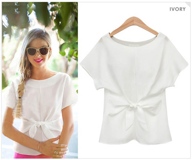 placeholder Europe   America fashion designer pure color chiffon blouse  women summer tops short sleeve o- 1dd66bd30ca7
