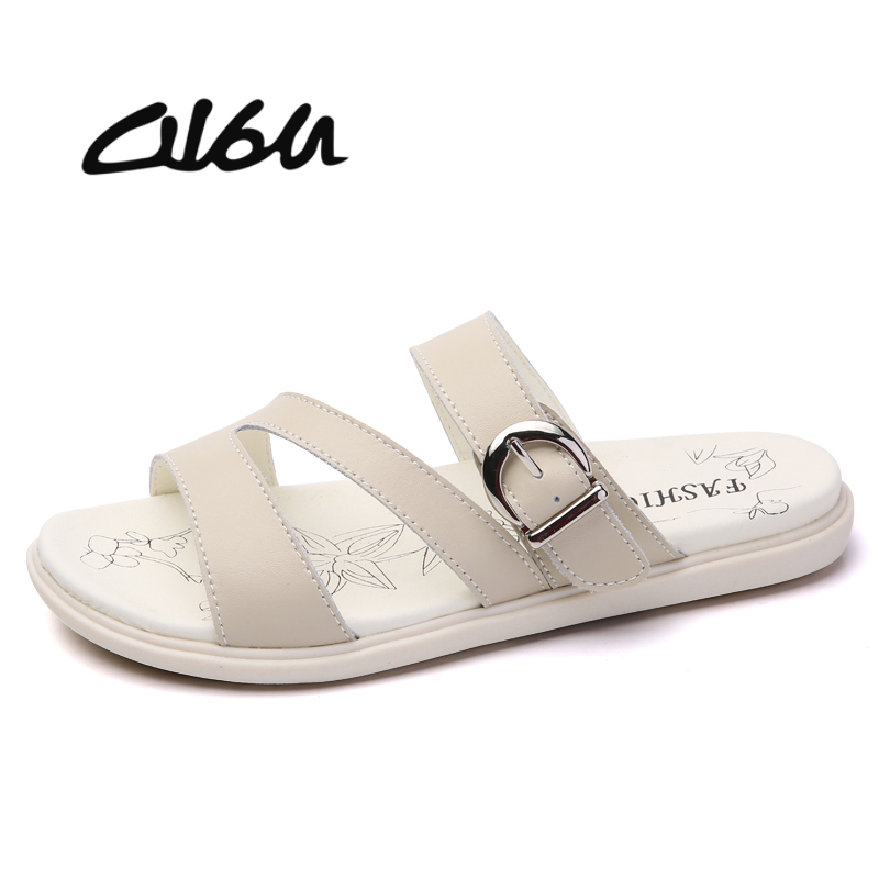 O16U 2018 Summer slippers shoes women genuine leather gladiator sandals flat shoes Ladies outside solid slides female footwears