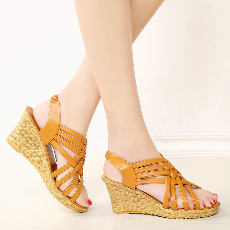 Detail Feedback Questions about Summer Black Wedge Espadrilles Women  Sandals Open Toe Gladiator Sandals Women Casual Lace Up Women Platform  Sandals on ... 218e7c2aef48