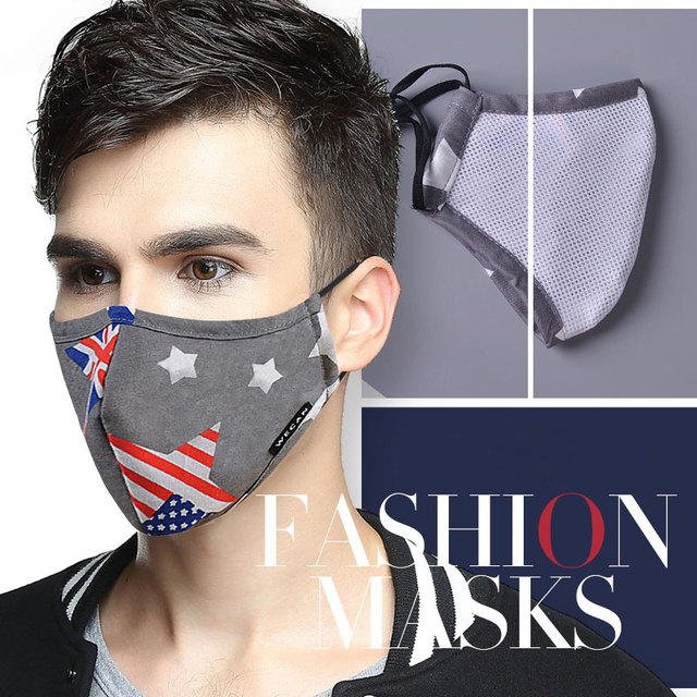 Cotton PM2.5 Anti Haze Face Mask Anti dust mouth mask mascaras Activated Carbon Filter Mouth-muffle Fabric Mask with 2pcs Filter 5