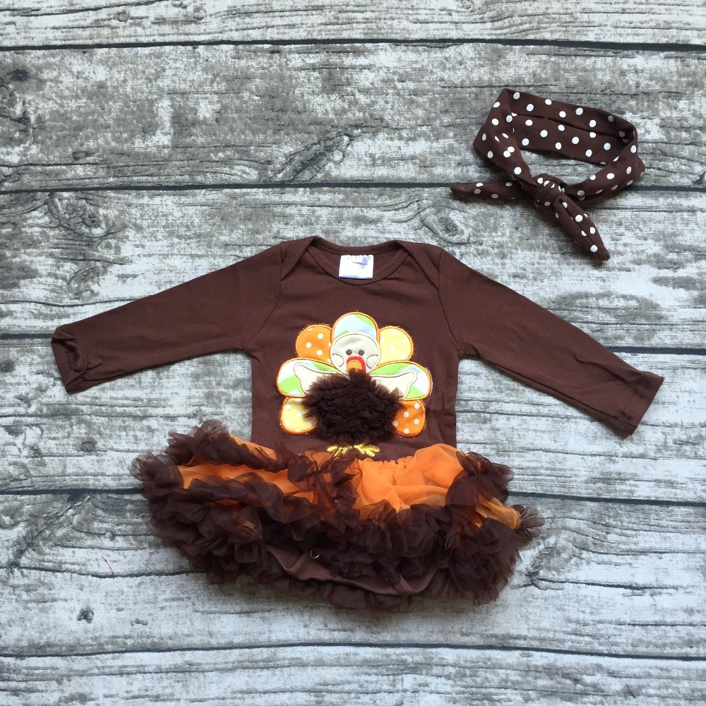 2016 Thanksgiving turkey cotton free shipping baby girls long sleeve infants gift tutu brown romper with