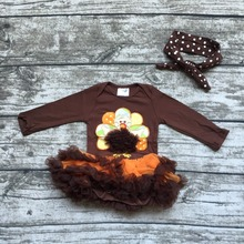 2016 Thanksgiving turquie coton livraison gratuite bébé filles manches longues nourrissons cadeau tutu brun barboteuse avec bandeau assorti
